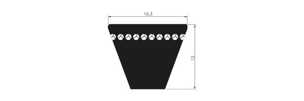 Hochleistungsschmalkeilriemen XPB 16,3 x 13 flankenoffen formgezahnt
