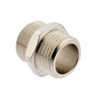 """Doppelnippel G 1 1/2"""" - G 1 1/2""""  , 16 bar Werkstoff Messing vernickelt"""
