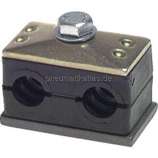 """Doppelrohrschelle 10 (1/8"""")mm, mit Anschweiß- und Deckplatte"""